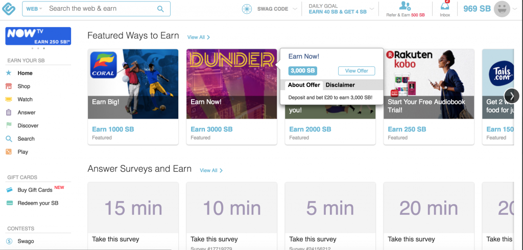 Swagbucks Dashboard