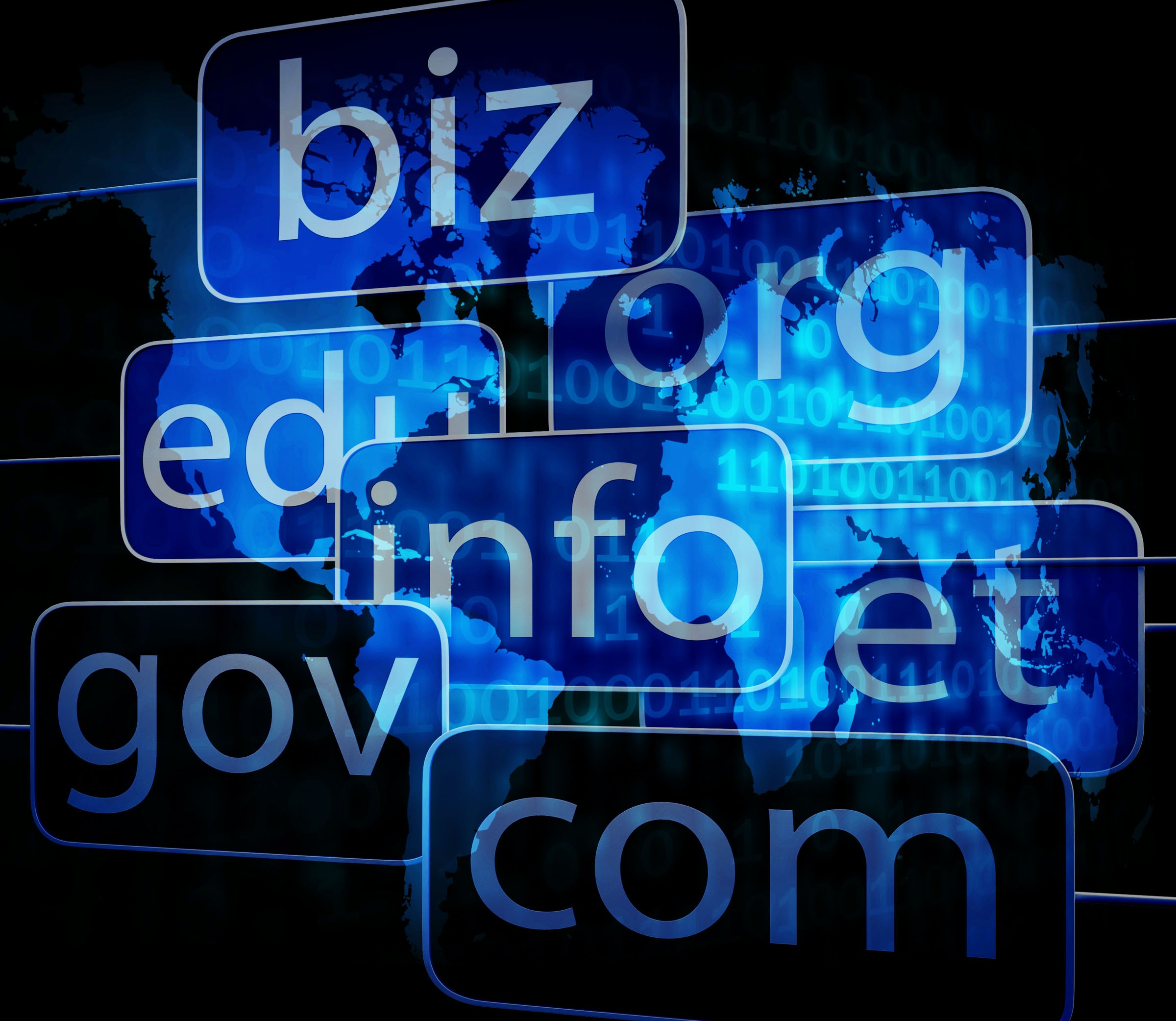 A collection of different domain name types