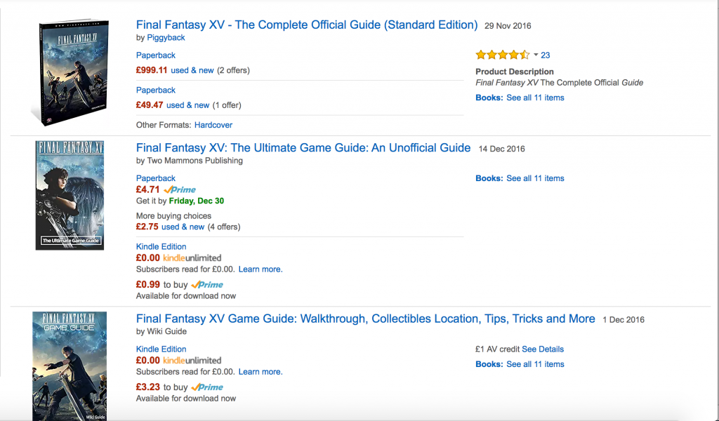 Amazon Listings for Final Fantasy Guides